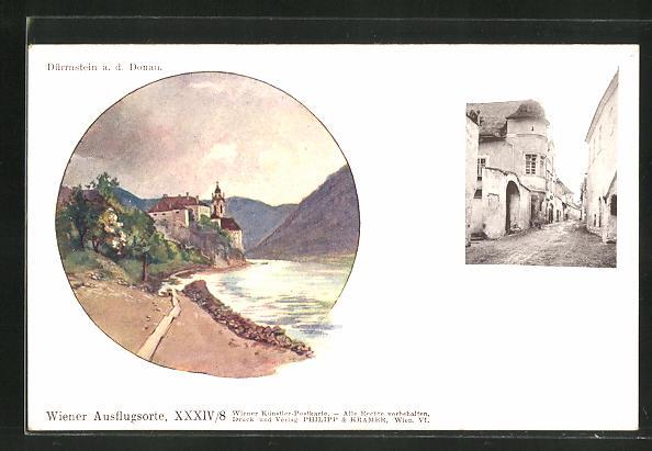 Künstler-AK Philipp + Kramer Nr.: Dürrnstein an der Donau, Ortspartien