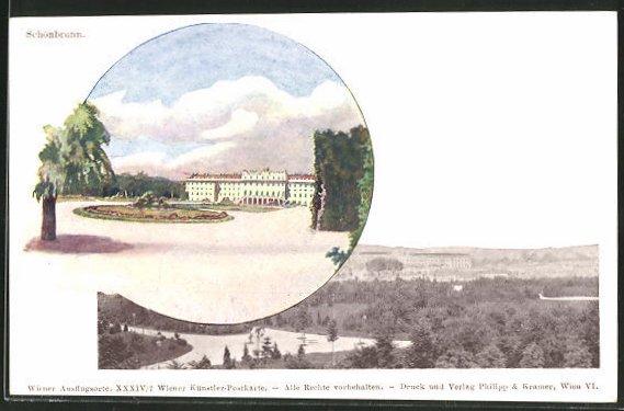 Künstler-AK Philipp + Kramer Nr.: Wien, Schloss Schönbrunn, Panorama
