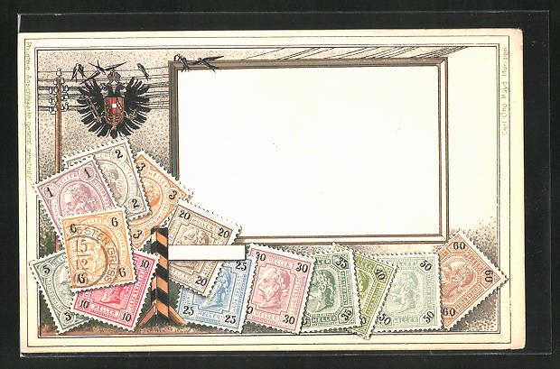 Präge-AK Briefmarken mit Wappen