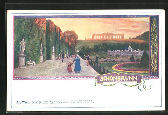 Künstler-AK Philipp + Kramer Nr.: Wien, Partie im Schlosspark Schönbrunn