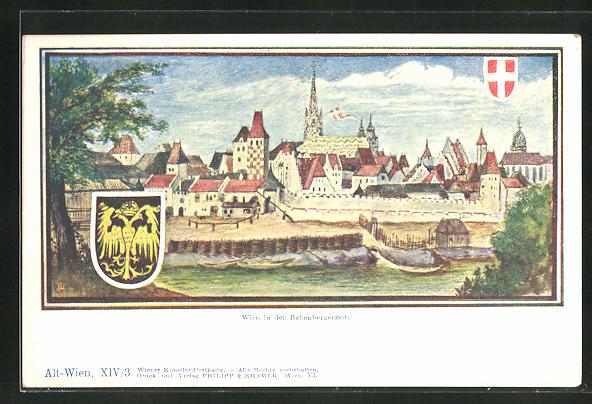 Künstler-AK Philipp + Kramer Nr.: Wien in der Babenbergerzeit, Teilansicht mit Wappen