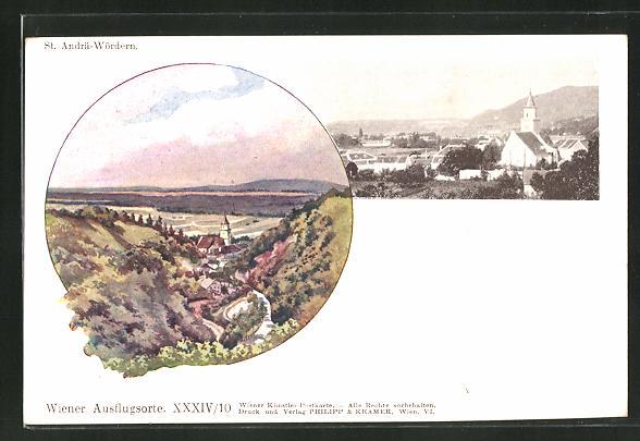 Künstler-AK Philipp + Kramer Nr.: St. Andrä-Wördern, Ortsansichten
