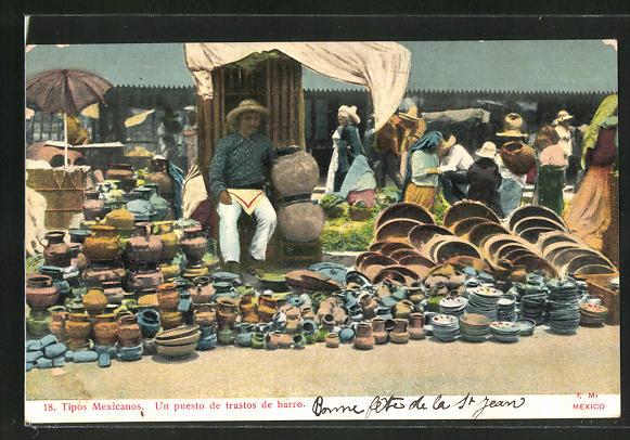 AK Mexikanischer Topfwarenhändler auf dem Markt