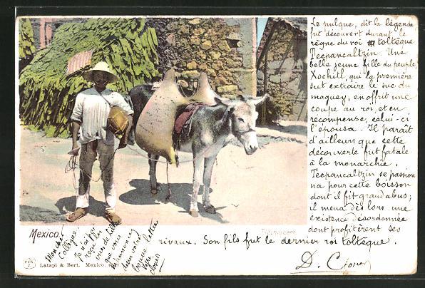 AK Mexiko, Mann transportiert Wasser mit einem Esel