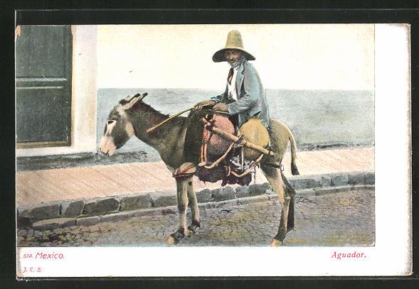 AK Mexico, Mann auf einem Esel reitend