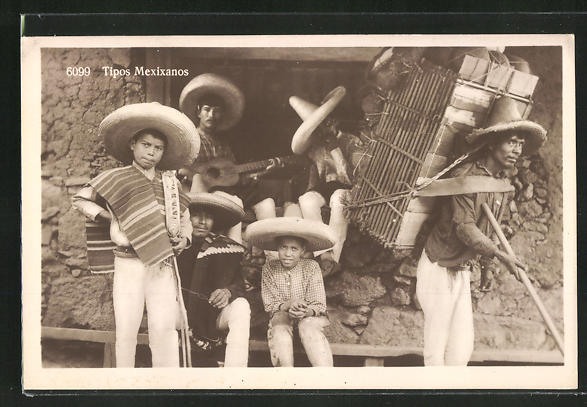 AK Mexikaner im Eingang eines Hauses sitzend