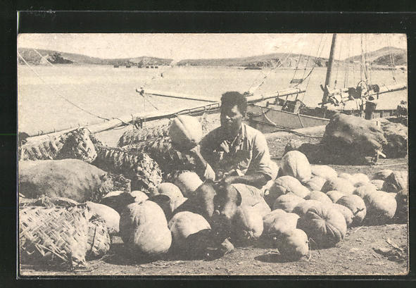 AK New Caledonia, A Loyalty islander with his garden produce