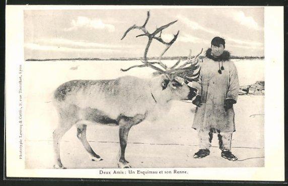 AK Eskimo mit seinem Rentier