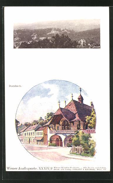 Künstler-AK Philipp + Kramer Nr. XXXIV /2: Dornbach, Gesamtansicht, Gasthaus