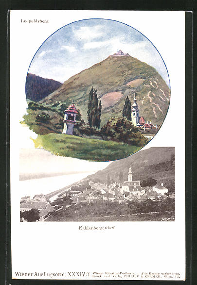 Künstler-AK Philipp + Kramer Nr. XXXIV /1: Kahlenbergerdorf, Panorama, Blick zum Leopoldsberg