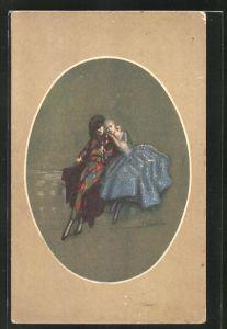 Künstler-AK A. Zandrino: Liebespaar im Art Deco
