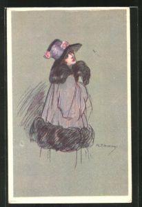 Künstler-AK A. Zandrino: Elegante Dame im Mantel mit Pelz