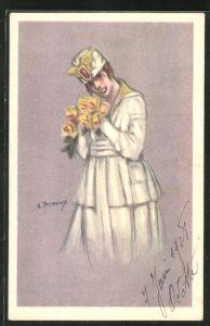 Künstler-AK A. Zandrino: Junge Dame im modischen Mantel mit Hut