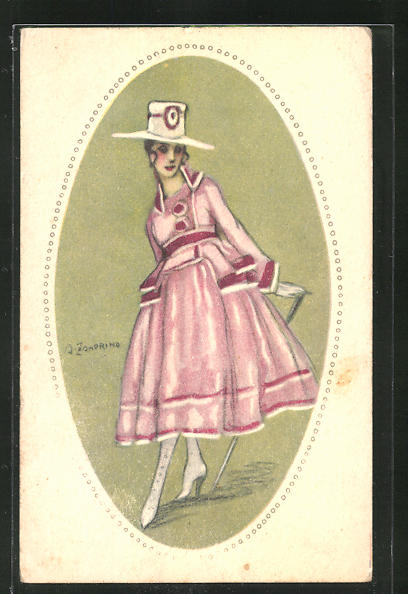 Künstler-AK A. Zandrino: Elegante junge Dame im hübschen Kleid mit Hut