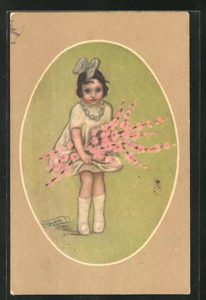 Künstler-AK A. Zandrino: Niedliches Mädchen mit Haarschleife und Blütenzweigen
