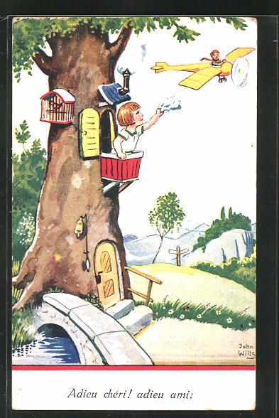Künstler-AK John Wills: Mädchen im Baumhaus winkt einem Flieger