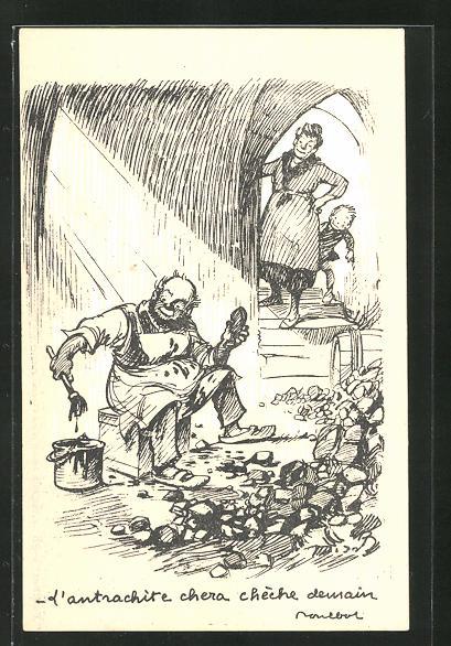 Künstler-AK Francisque Poulbot: Mann mit Pinsel im Kohlenkeller