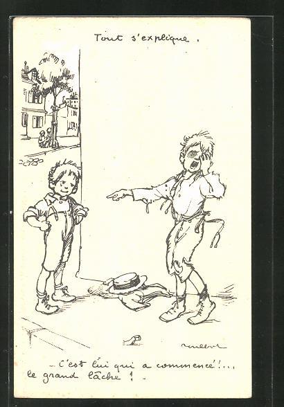 Künstler-AK Francisque Poulbot: Jungs streiten auf der Strasse