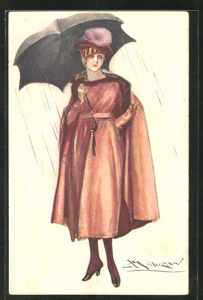 Künstler-AK Mauzan: Elegante Dame mit Regenschirm