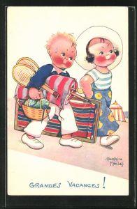 Künstler-AK Beatrice Mallet: Kinderpaar mit Klappstuhl und Federball auf dem Weg zum Strand