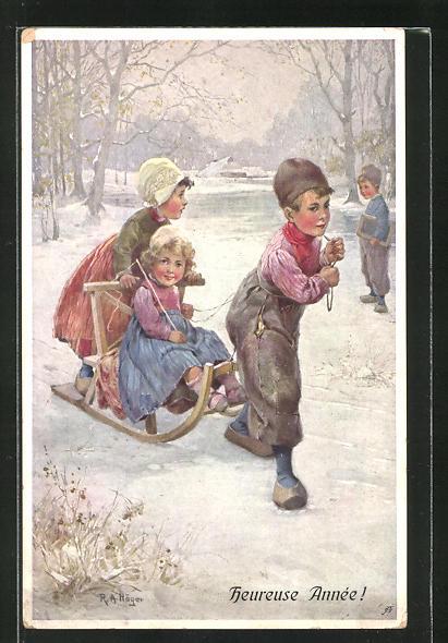 Künstler-AK Rudolf Alfred Höger: Kinder mit Schlitten auf dem zugefrorenen See