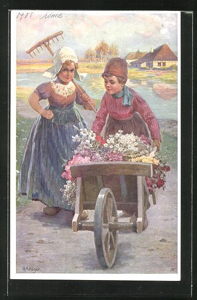 Künstler-AK Rudolf Alfred Höger: Niederländisches Kinderpaar mit Schubkarren und Blumen