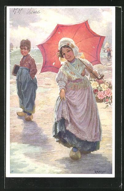 Künstler-AK Rudolf Alfred Höger: Hübsches Niederländisches Mädchen mit Sonnenschirm am Strand
