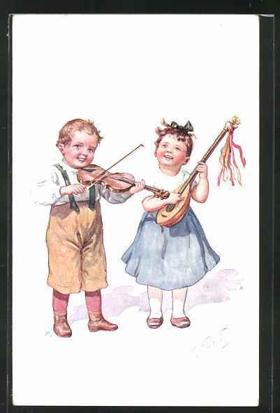 Künstler-AK Karl Feiertag: Kinderpaar musiziert mit Laute und Geige