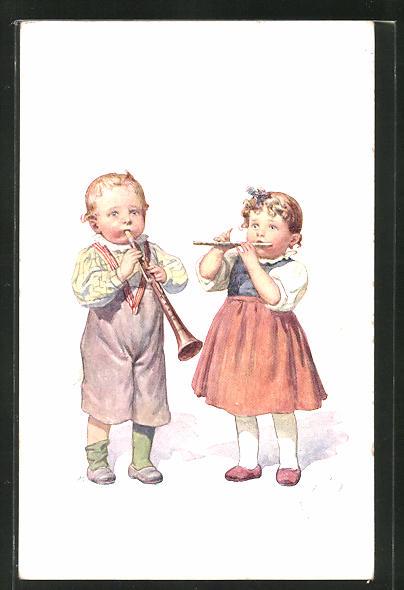 Künstler-AK Karl Feiertag: Musizierende Kinder mit Flöte