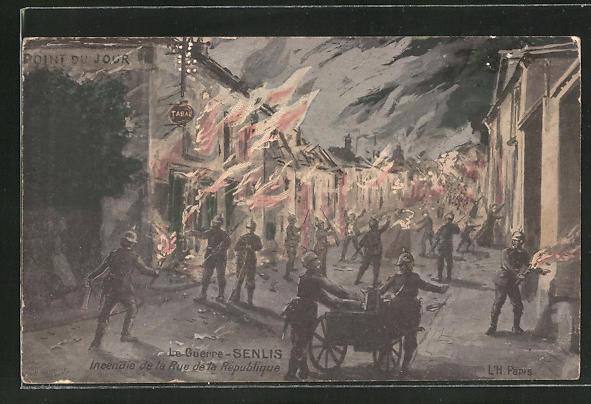 Künstler-AK Senlis, La Guerre, Incendie de la Rue de la Republique, brennende Häuser beim Strassenkampf