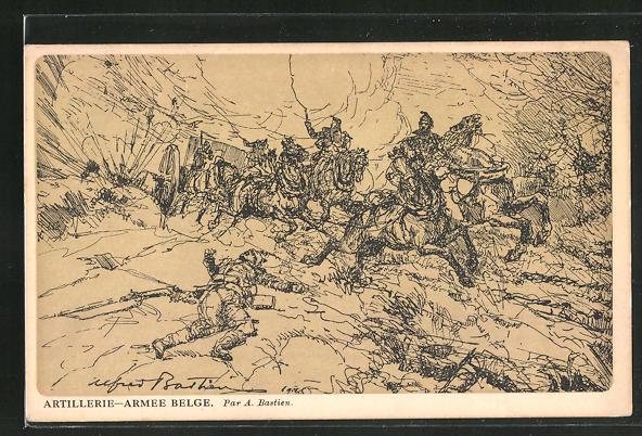 Künstler-AK Soldaten der belgischen Artillerie im Gefecht