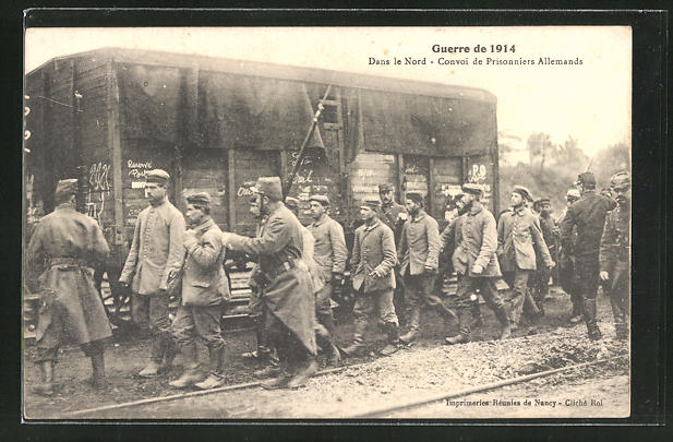 AK Guerre de 1914, Dans le Nord, convoi de Pirsonniers Allemands, Kriegsgefangene