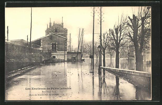 AK Maisons-Alfort, Gare de Maisons-Alfort, Ortspartie bei Hochwasser