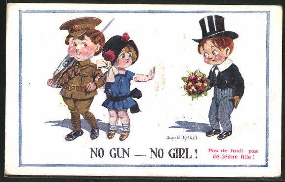 Künstler-AK Donald McGill: Mädchen mit Soldaten, Bräutigam mit Blumen