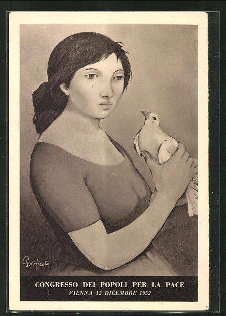AK Friedensbewegung, junges Mädchen mit einer Taube in der Hand, Wien 1952