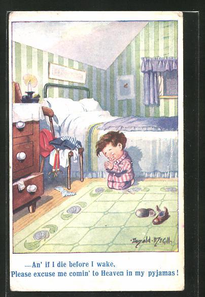 Künstler-AK Donald McGill: kleiner Junge beim Beten vor dem Bett