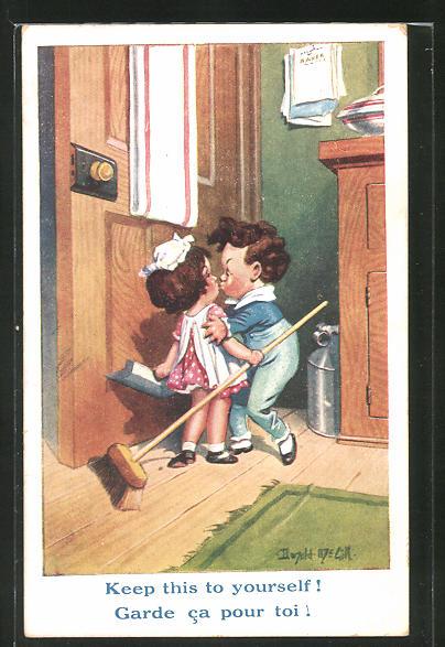 Künstler-AK Donald McGill: kleiner Junge küsst Mädchen beim Saubermachen