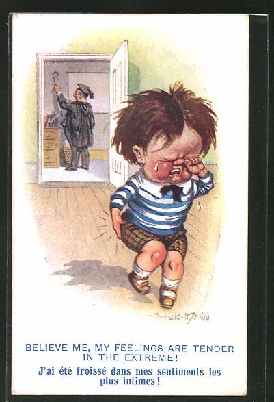 Künstler-AK Donald McGill: weinender Junge welcher vom Vater geschlagen wurde