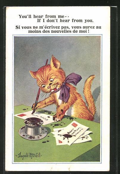 Künstler-AK Donald McGill: Katze beim Briefe schreiben