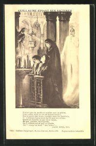 AK Propaganda Entente, betende Frauen, Kaiser Wilhelm II. als Geist