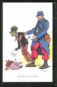 Künstler-AK Propaganda Entente, Qu'en dis-tu L'Histoire, Kaiser Wilhelm II.