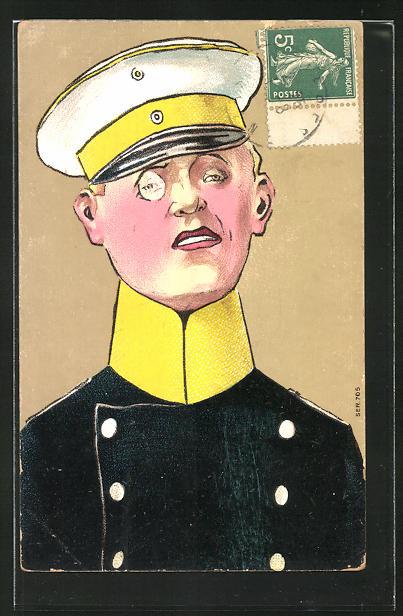 AK Karikatur eines deutschen Offiziers mit Monokel