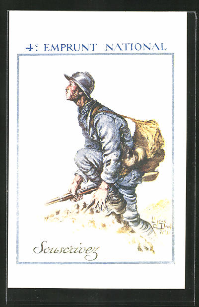 Künstler-AK 4e Emprunt National, französ. Infanterist, Kriegsanleihe