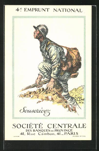 Künstler-AK 4e Emprunt National, Kriegsanleihe, französ. Infanterist