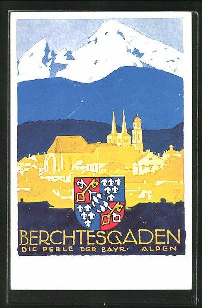 Künstler-AK Ludwig Hohlwein: Berchtesgaden, Ortsansicht mit Wappen und Alpen im Hintergrund