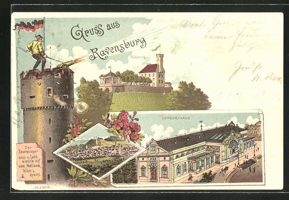 Lithographie Ravensburg, Concerthaus, Veitsburg