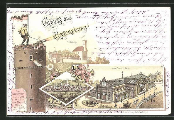 Lithographie Ravensburg, Neue Concert-Halle, Veitsburg