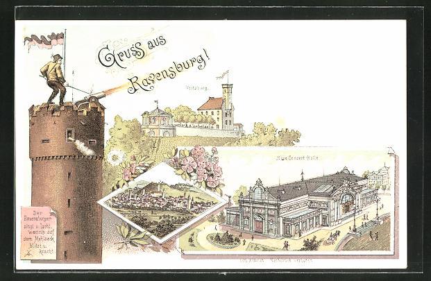 Lithographie Ravensburg, Neue Concert-Halle u. Veitsburg