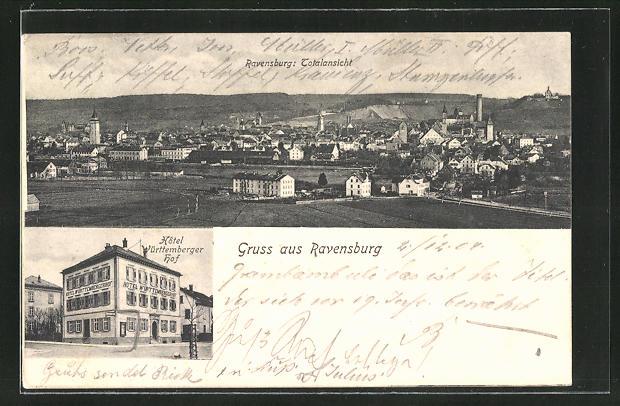 AK Ravensburg, Totalansicht Hotel Württemberger Hof, Totalansicht