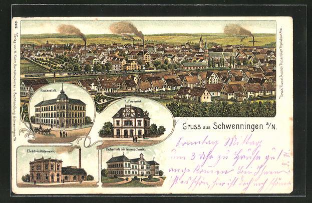 Lithographie Schwenningen a.N., Fachschule für Feinmechanik, Realanstalt, Elektrizitätswerk